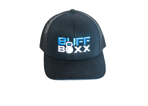 BuffBoxx Snapback Hat- Navy w/ Blue & White Logo