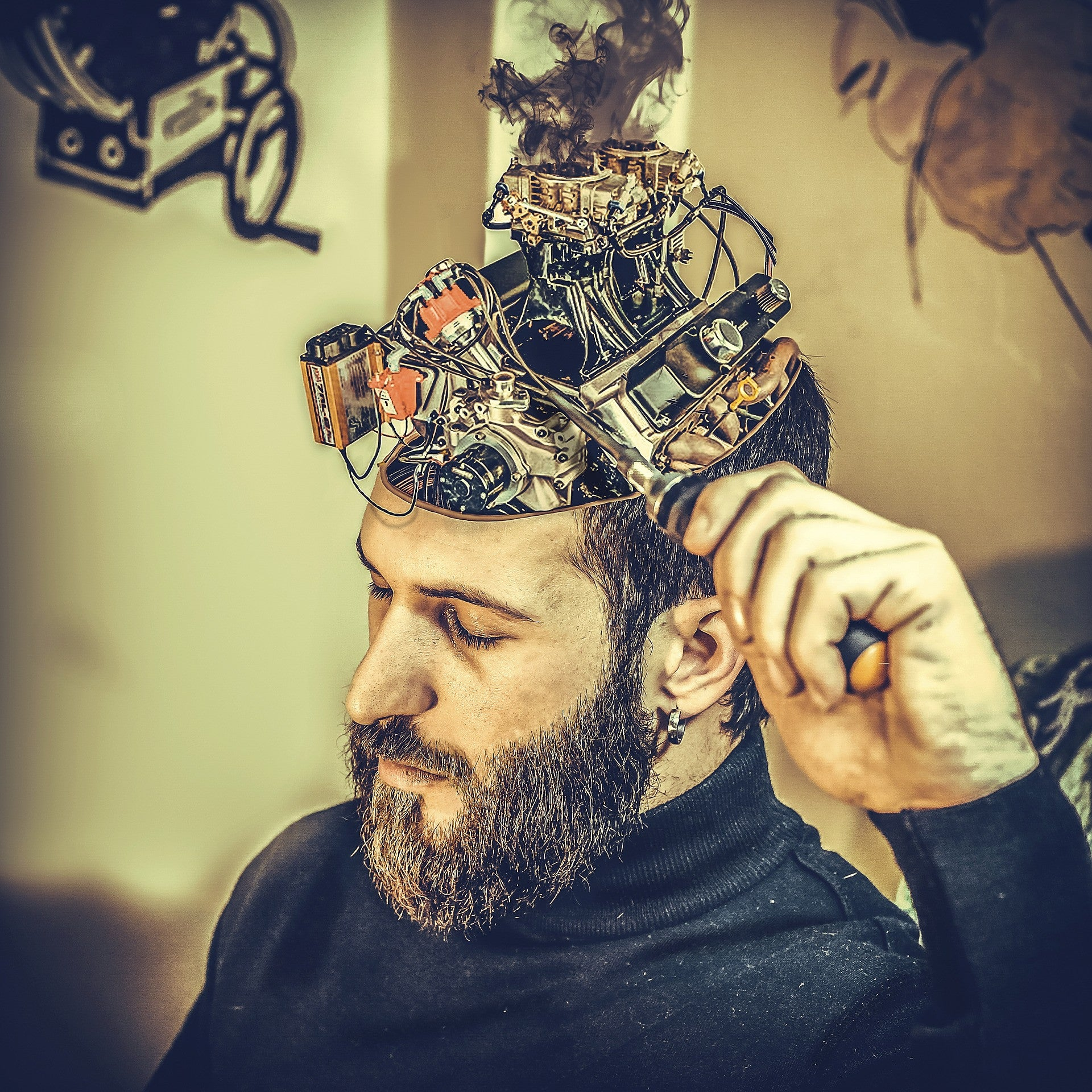 Man with brain circuitry