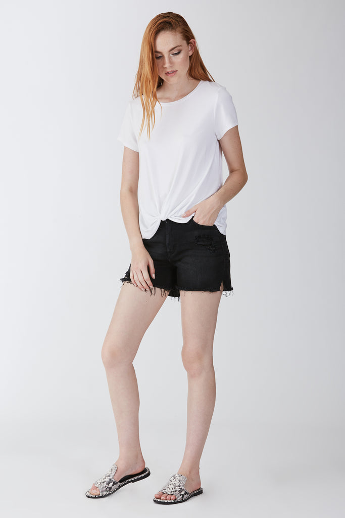 JULIA FRONT KNOT TEE WHITE