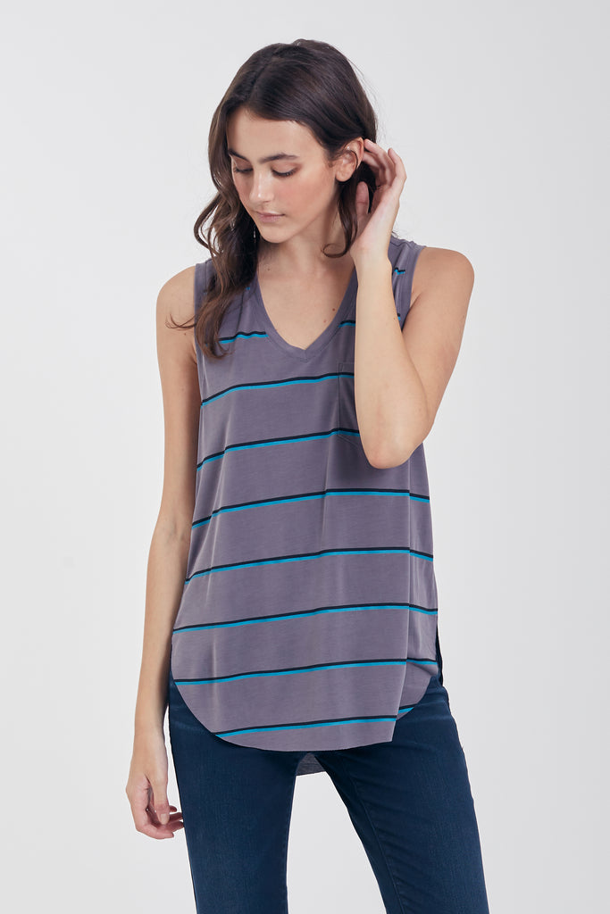 ESTHER STRIPE TANK W/ PKT DARK GREY