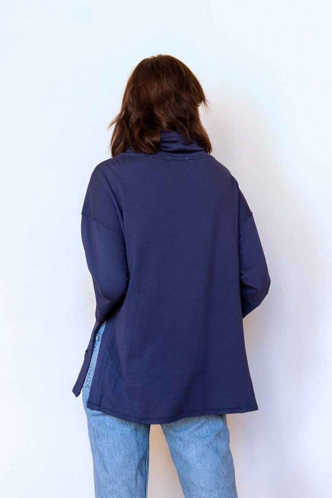HAZEL RELAXED FUNNEL NECK TOP NAVY