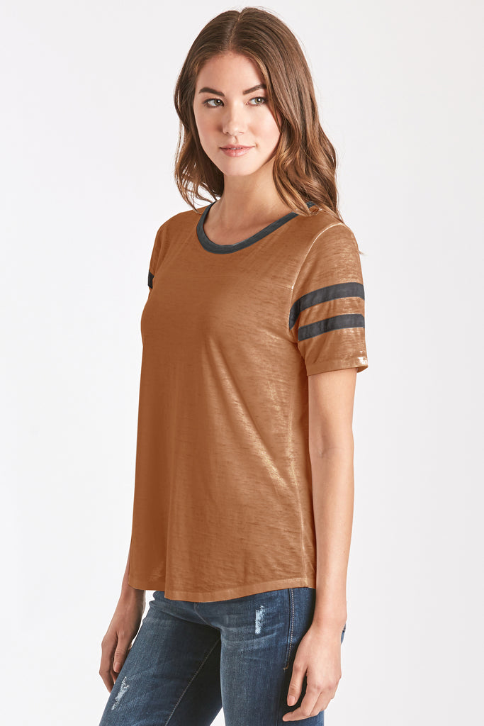 ANALISA BURNOUT ATHLETIC TEE SPICE/NAVY