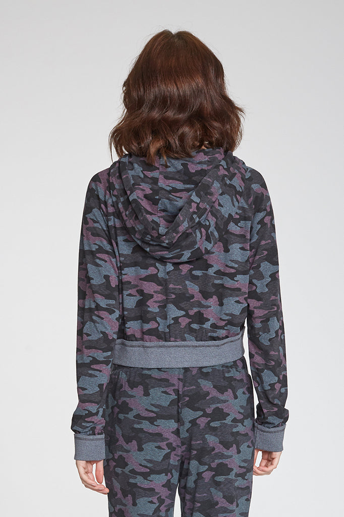 ERIN PRINTED CAMO CROPPED HOODIE