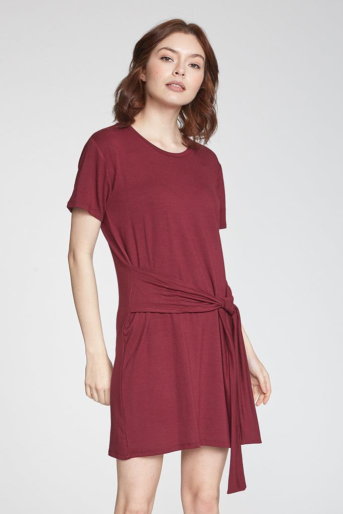 KINSLEY SELF TIED WAIST DRESS BORDEAUX