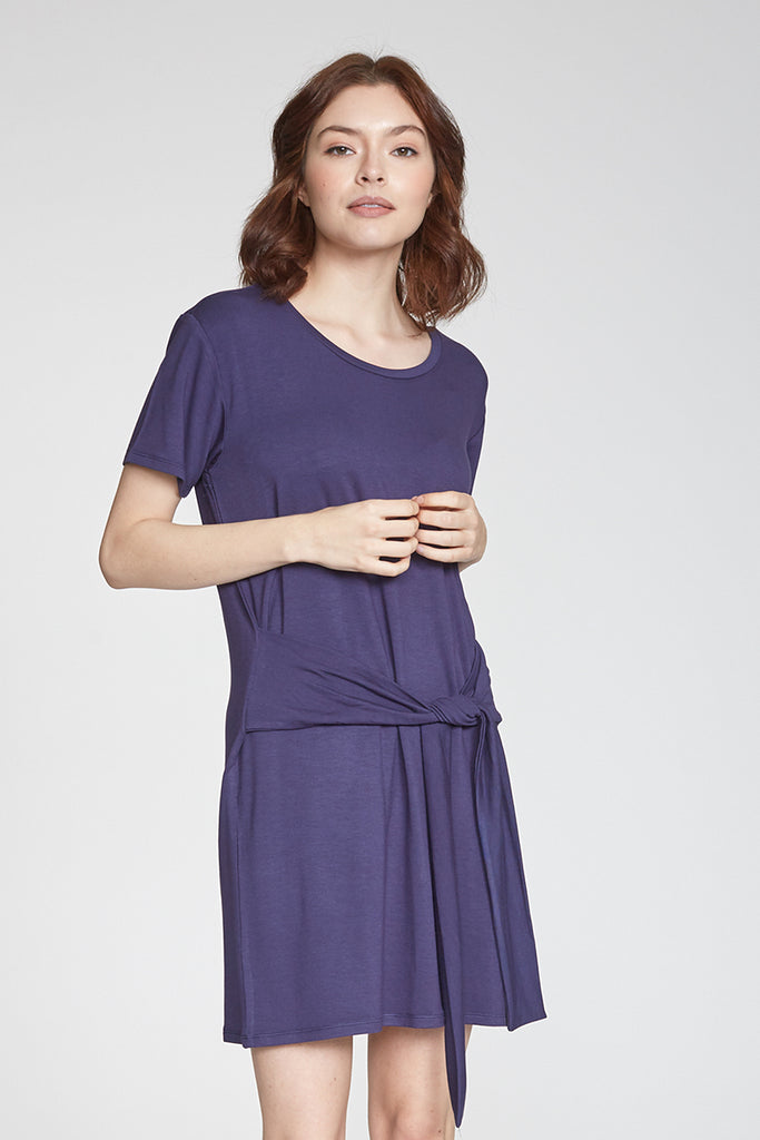 KINSLEY SELF TIED WAIST DRESS NAVY