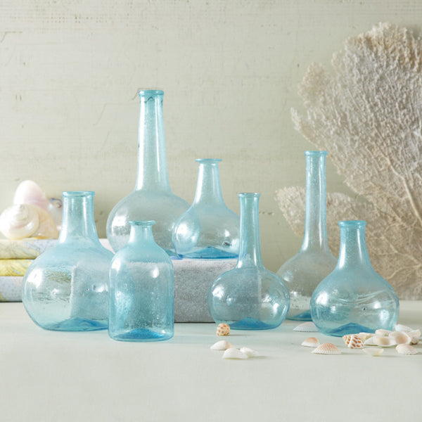 Aquamarine Decorative Bottles - Set of 7 - Urbanily Lifestyle Goods