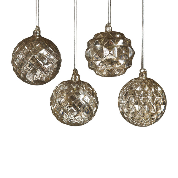 Facted Sphere Glass Ornaments - Set of Four - Urbanily Lifestyle Goods