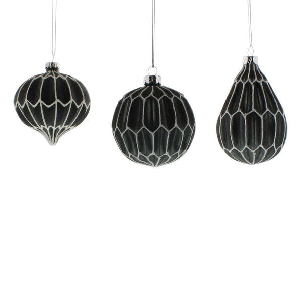 Arabesque Glass Ornaments - Set of Three - Urbanily Lifestyle Goods