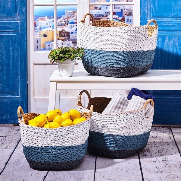 Blue and White Hand Woven Baskets - Set of 3 - Urbanily Lifestyle Goods