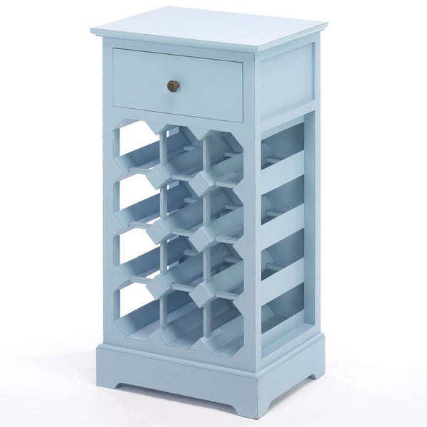 Blue Wood Wine Cabinet with Drawer - Urbanily Lifestyle Goods