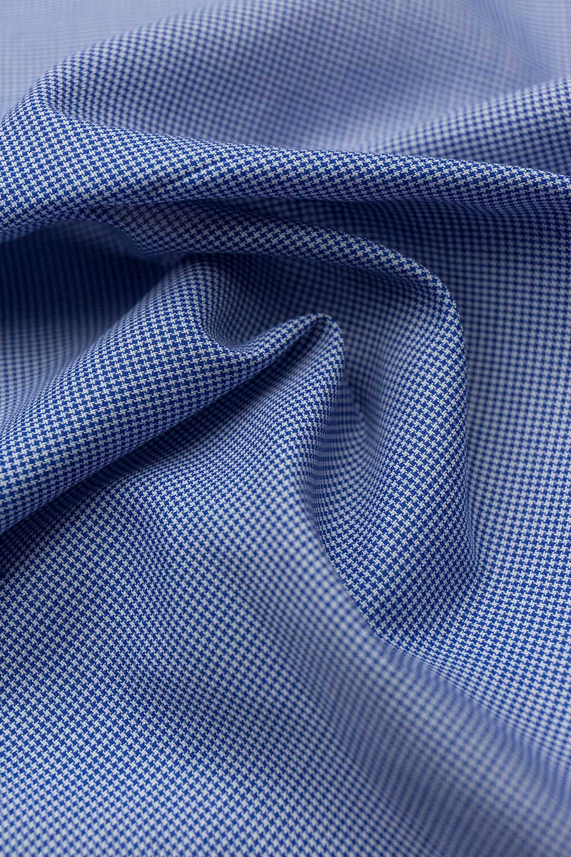 Lagoon 120s Blue Mini Houndstooth Fabric