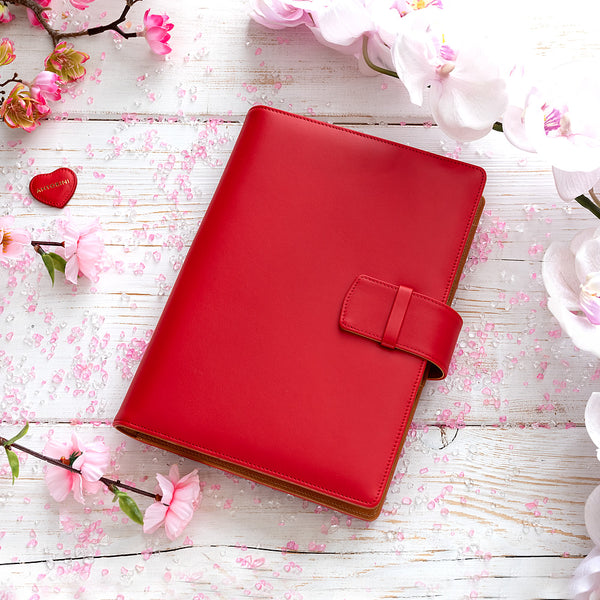 Leather A5 Padfolio in Red and Cognac with Notepad