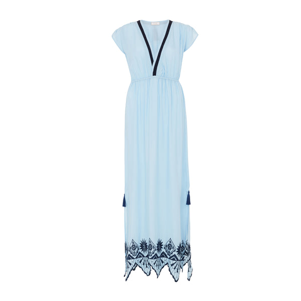 Elia maxi dress in sky blue, with navy embroidery