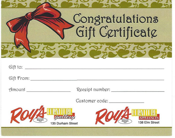 Roy's Gift Certificates