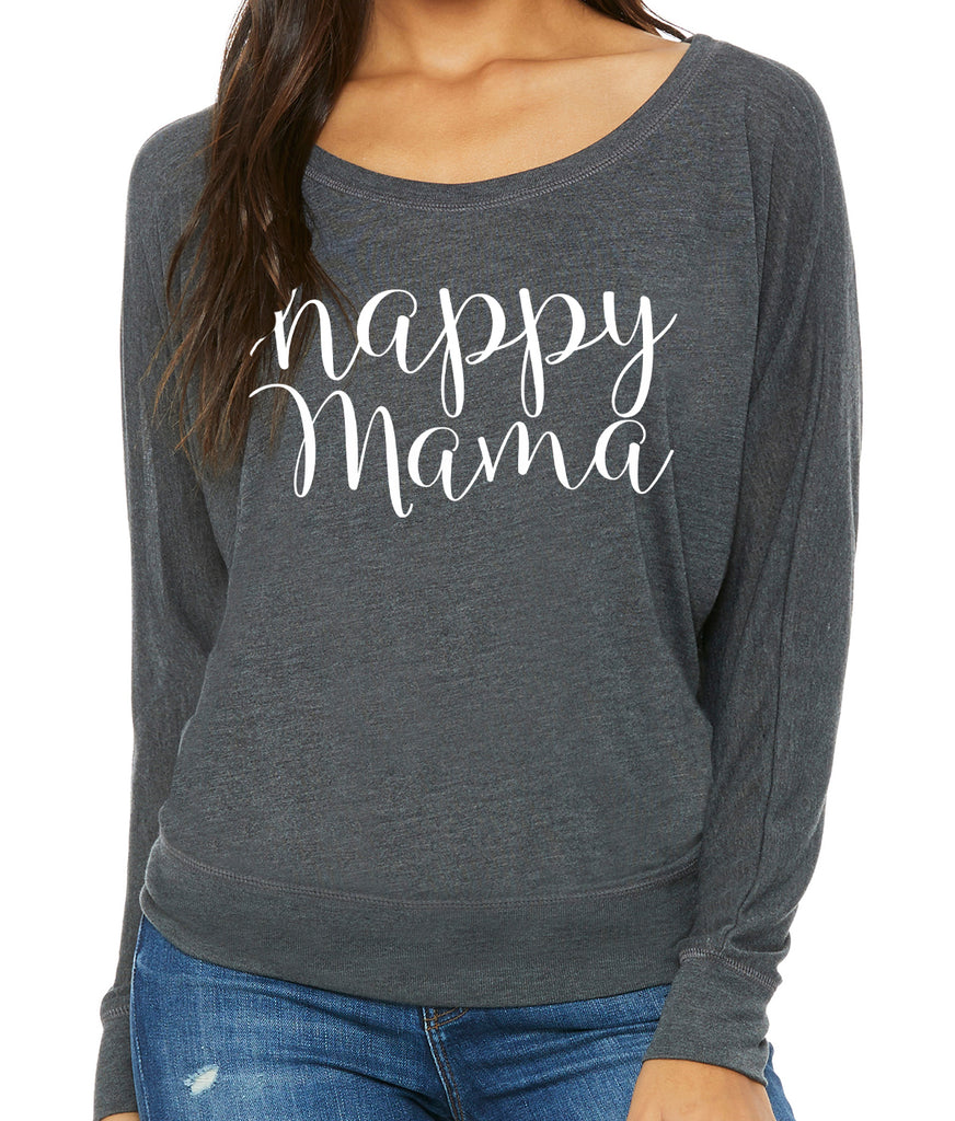 Gray Long Sleeve Happy Mama Tee