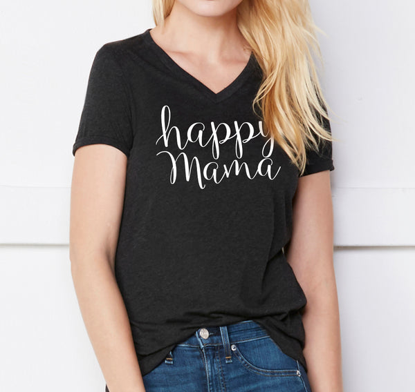 Charcoal 'Happy Mama' V-Neck - Us+Four
