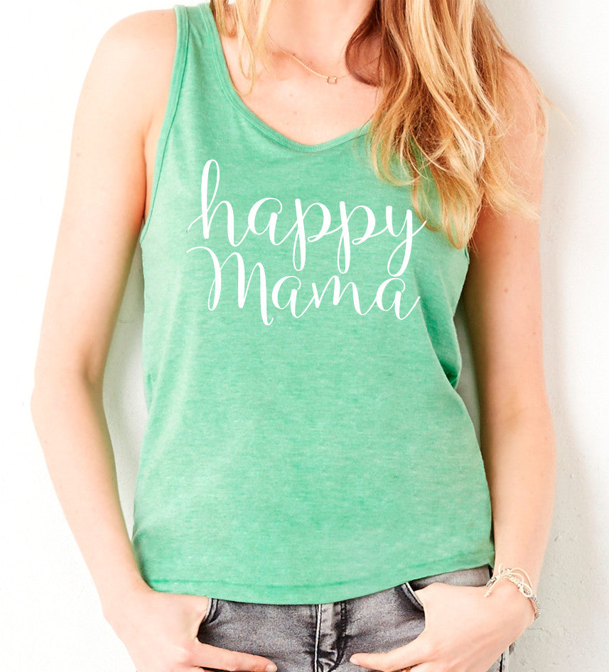 Green and white Happy Mama Tank Top - Us+Four