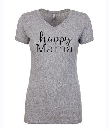 "Petite size Gray ""Happy Mama"" Tri-blend V-Neck - Us+Four"