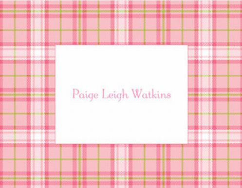 Plaid Pink Foldover Note