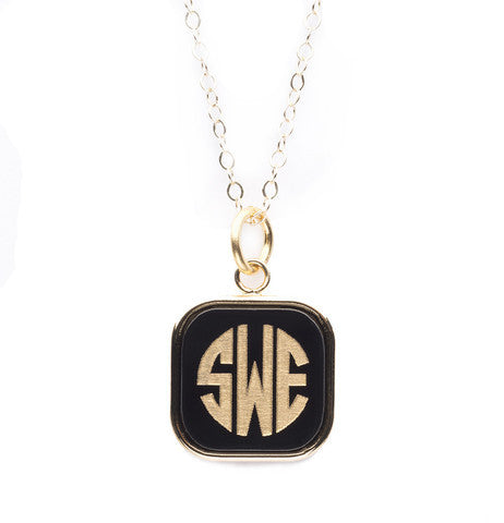 Acrylic Vineyard SquareMonogram Pendant on Apex Chain