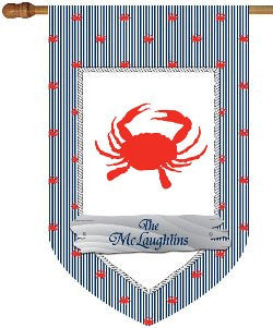 Monogrammed Polka Dot Crab House Flag