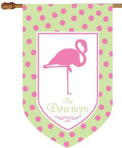 Monogrammed Flamingo Green & Pink House Flag