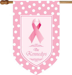 Monogrammed Pink Ribbon House Flag