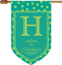 Monogrammed Teal Polka Dot House Flag