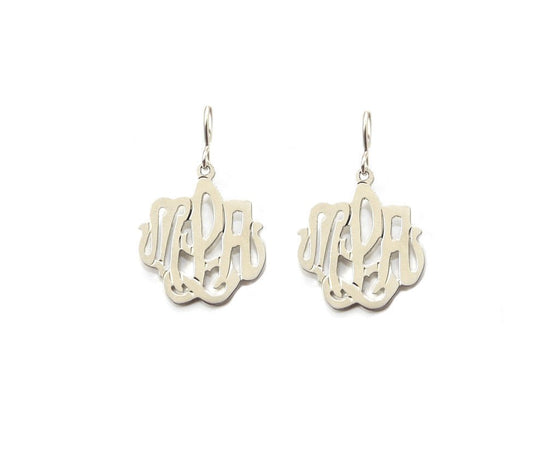 14k Gold Cheshire Handcut Monogram Dangle Earrings
