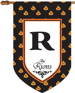 Monogrammed Pumpkin Polka Dot House Flag