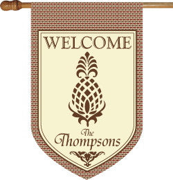 Monogrammed Pineapple Argyle House Flag