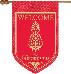 Monogrammed Pineapple Red House Flag