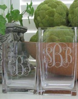 Monogrammed Square Glass Vase