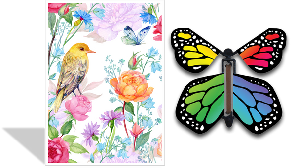 Magic Butterfly Cards - Yellow Bird Floral