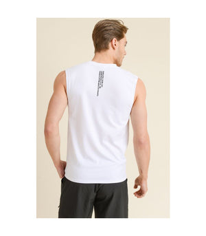 Cool Touch Cotton Blend Athletic Muscle Cut-Off Top White