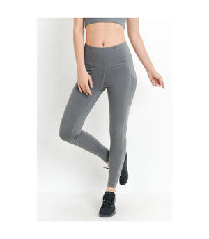 Mesh & Lattice Pocket Leggings Grey