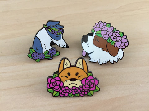Flower Dog Pins