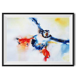 Print ~ Coming in to Land A4 - stunning puffin design