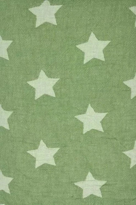 Throw ~ STF08 Stars design Green cotton blanket with fleece backing 170 x 130cm