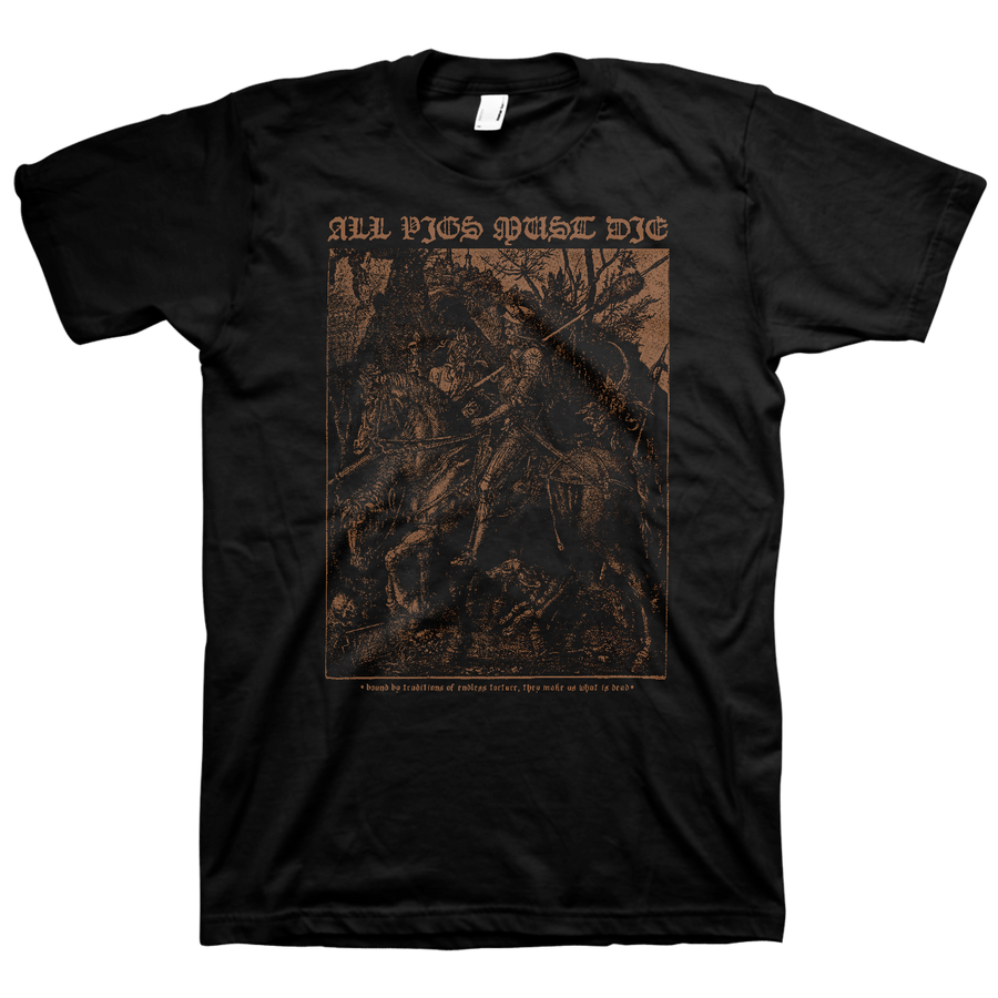 "All Pigs Must Die ""Knight"" Black T-Shirt"