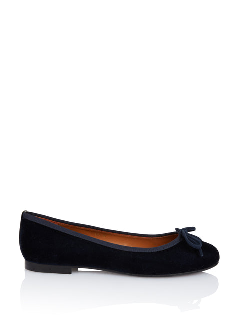 Classic Demi Flat in Navy Velvet,Margaux,- Fivestory New York