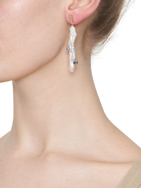 Baroque Pearl, Diamond and Large Sapphire Grab Earring