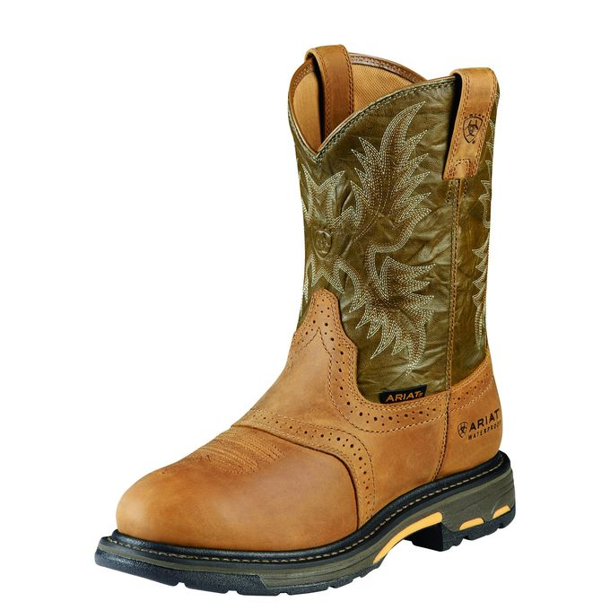 "Ariat Men""s 10"" WorkHog Pull-On H20 WP Work Boots - Aged Bark/Army Green 10008633 - ShoeShackOnline"