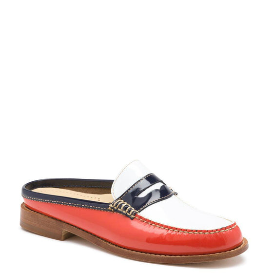 Bass Women's Weejuns Wynn Patent Leather Mule - Poppy/White Patent 71-22869 - ShoeShackOnline