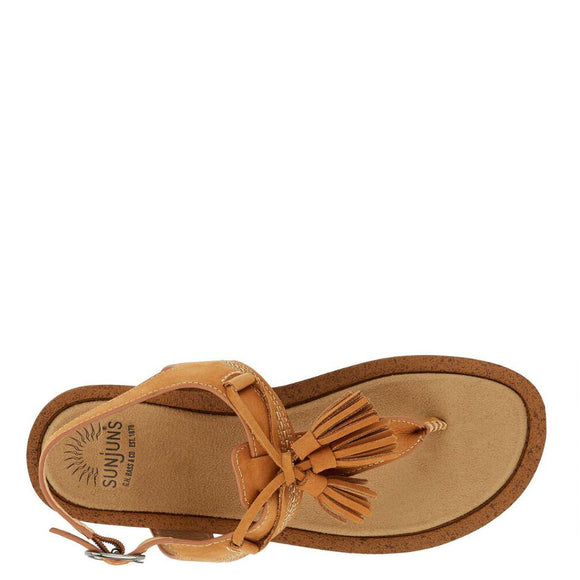 Bass Women's Sunjuns Sadie T-Strap Sandal - British Tan 71-23002 - ShoeShackOnline