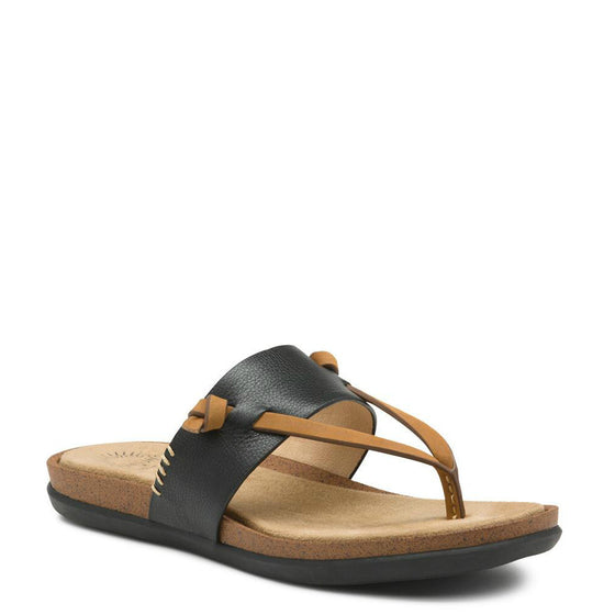 Bass Women's Sunjuns Shannon Thong Sandal - Black 71-23014 - ShoeShackOnline