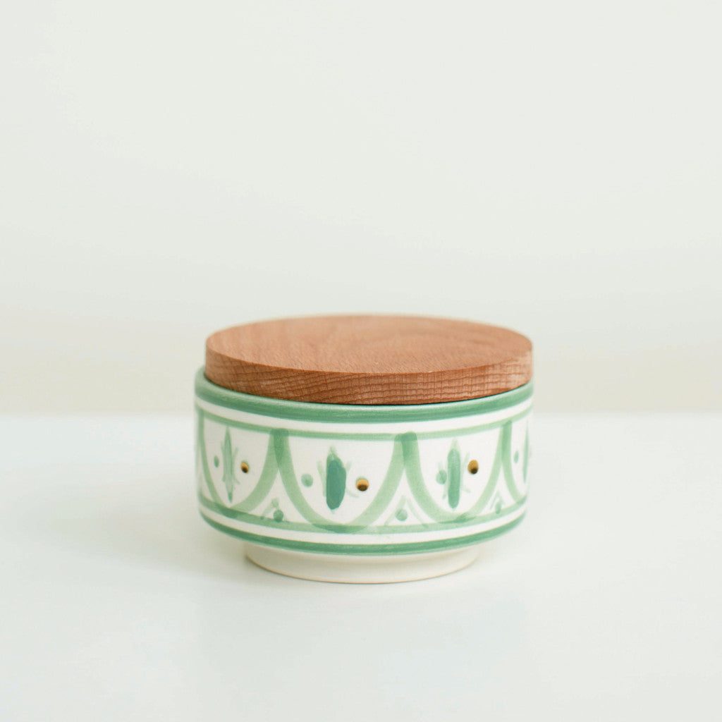 Hand-Painted Ceramic Box w/ Wooden Lid - Celadon III
