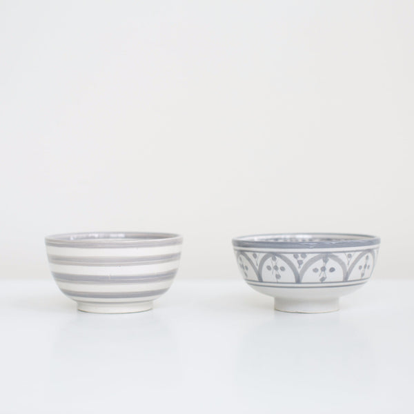 Hand-Painted Ceramic Snack Bowls - Grey (Set of 2)