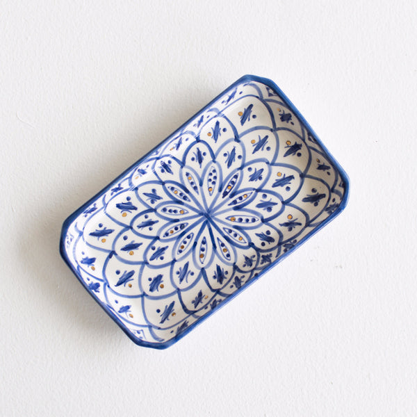 Gold Ceramic Tray - Royal Blue Patterned