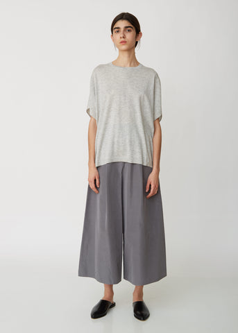 Washed Silk Faille Wide Long Pants